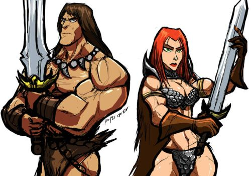 SKETCHIN:CONAN AND RED SONJA by Sabrerine911