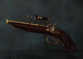 Steampunk gun by Little-Calvin