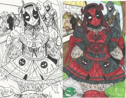 Rough Lolita Deadpool Ink and Color Guides by PonyGoddess