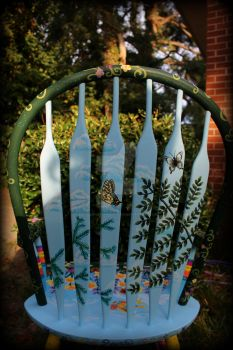 Whimsical Wildflower Chair - Chair Back Rear View by ReincarnationsDotCom