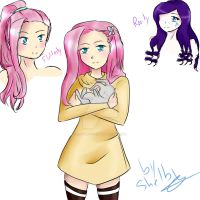 MLP Fluttershy and Rarity by lilYumi-chan