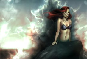 Red haired Mermaid by TAKORUone