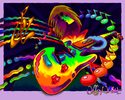 Psychedelic Guitar Print by JefferyWright