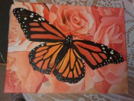 Orange butterfly painting stage 5 finished by Kerri-Pomroy