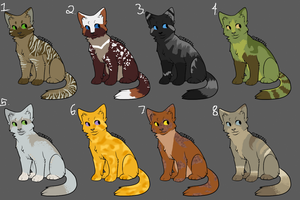 Cat adoptables by poisonflame