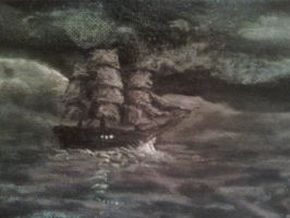 Ocean Painting ship detail by Lioness123