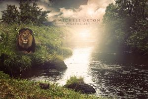 Lion on the river by micheleoxton