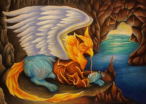 C: Four Elemental Gryphon by GhostlyMetalhead