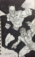 Batman and robin inked by ansem-the-dead