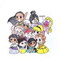 Chibi Princesses 2 - Hobbes918 by DisneyBabes
