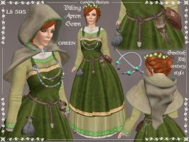 Viking Apron Gown in Green by Elvina-Ewing