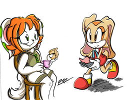 :Commish: A Rabbit's ( and dog's )  Tea for Two! by Iyzeekiil