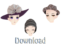 [MMD] Cute hats download by Yangire-sama