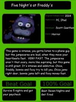 1001 Video Game- Five Night's at Freddys by DankeToYou