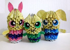 3D Origami Powerpuff Girls by Rajlakshmi