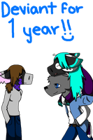 Deviant for one year! And Thanks. by Dragon-Wolf-Lover