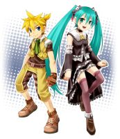MIKU and LEN in ZWEI2 costume by kotorain