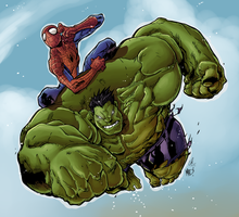 Hulk and Spiderman by Hitotsumami