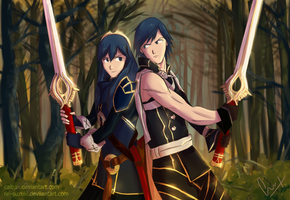 Lucina and Chrom by Calbak
