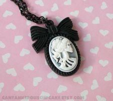 Skeleton Cameo Necklace by CantankerousCupcake