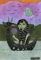 Girl in a Small Creature Boat by bethywilliams