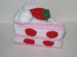 Felt Strawberry Cake by kiddomerriweather