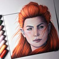 Aloy from Horizon Zero Dawn - Drawing by LethalChris