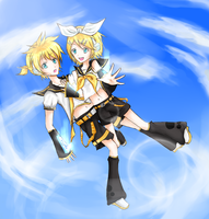 Rin and Len by OrangeMouse