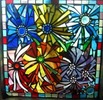 Random Mosaic Dahlias Mosaic by reflectionsshattered