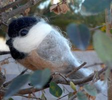 needle felted Black Capped chickadee-chip by Throughawolfseyes