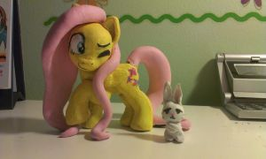 Fluttershy with Angel Bunny by KittenLollipop