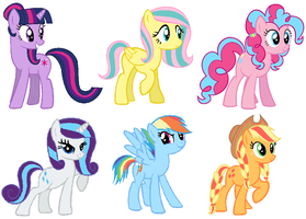 The Mane Six (My Style) by StormDragon3