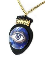 Laser Cut Acrylic Acrylic and Glass Eye Necklace by asunder