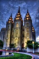Salt Lake Temple at Sundown by Way2spoiled