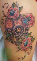 Sugar Skull Thigh Tattoo done by Sean Ambrose by seanspoison