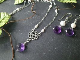 Celtic Amethyst and Pearl Set by QuintessentialArts