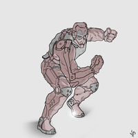 DeadPool Wears ExoSkeleton sketch by LeM0N-head