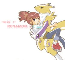 Ruki and Renamon by mireikko