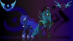 Luna and Chrysalis Wallpaper by Perrydotto