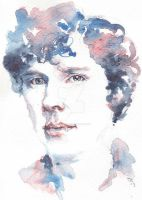 Sherlock - Benedict Cumberbatch watercolor portrai by rum-inspector
