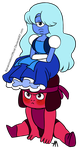Sapphire On Ruby's Head - Solid Color Version by BananimationOfficial