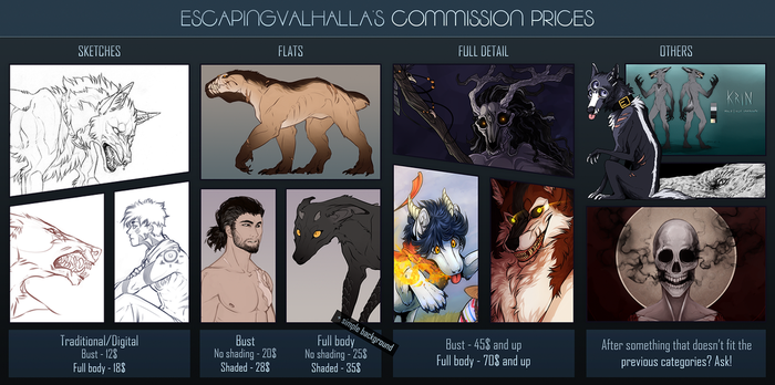 Commission prices [ON HIATUS] by EscapingValhalla