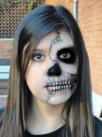 Half Face Skull Makeup by mariana-a
