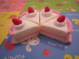 Strawberry cake charms by MiniatureTemptations