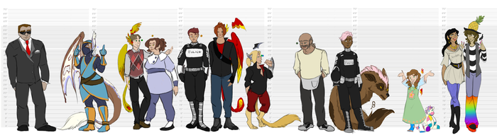 Character Sizes - Re-recreation - Clothed Edition by Invader-Sah