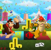 Commission: Donkey Kong and Bowzer - Party Time by BroDogz