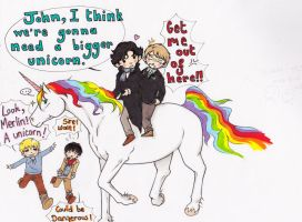 Sherlock/ Merlin crossover...and a Unicorn by WhatItMeansToBeHuman