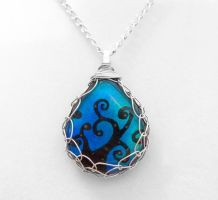 Blue and Green Swirls Pendant by HoneyCatJewelry