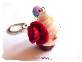 Fruity Rainbow Cupcake Keychain by Cateaclysmic