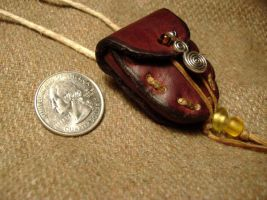 Side view of necklace pouch by Wulfward